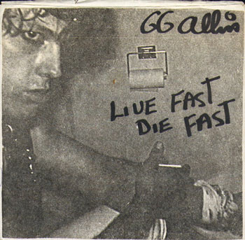 Rare alternate sleeve of Live Fast Die Fast 7-inch